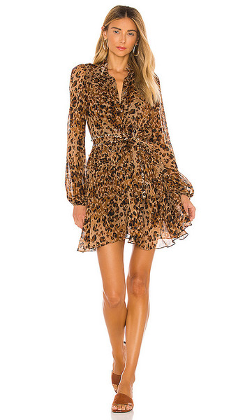 Karina Grimaldi Trina Print Mini Dress in Brown in leopard