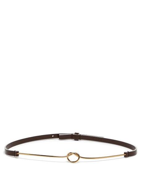 Marni - Metallic Knot Leather Belt - Womens - Brown