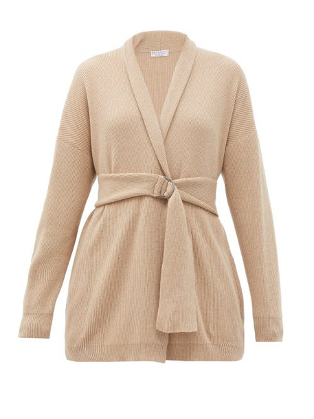 Brunello Cucinelli - Belted Rib-knitted Cashmere Cardigan - Womens - Camel