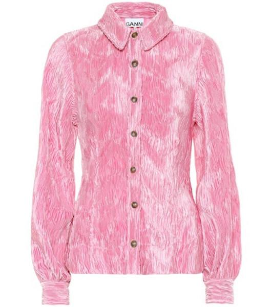 Ganni Pleated satin shirt in pink