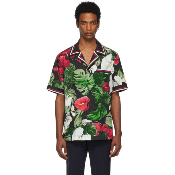 Dolce and Gabbana Dolce & Gabbana Black & Green Anthurium Hawaiian Shirt