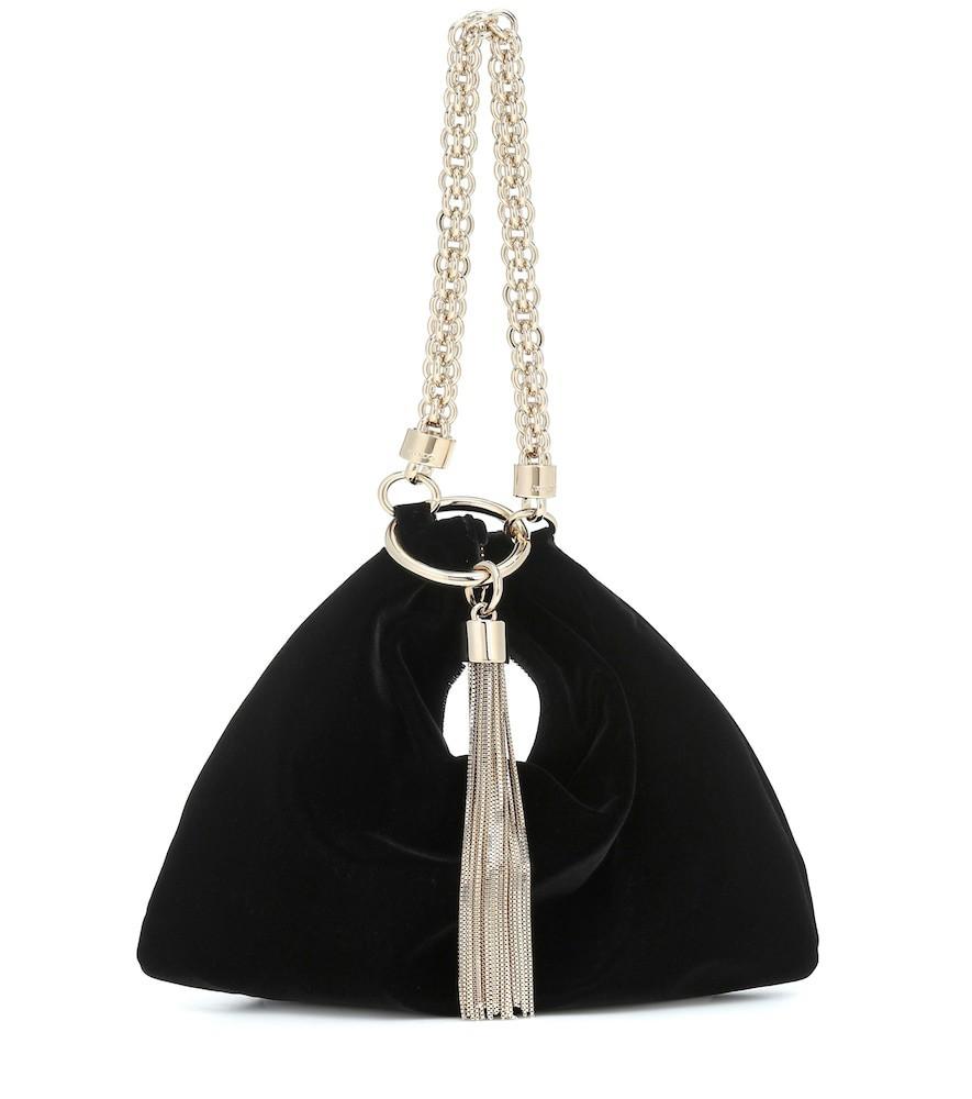 Jimmy Choo Callie velvet clutch in black