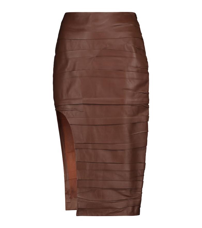 Zeynep Arçay High-rise leather midi skirt in brown