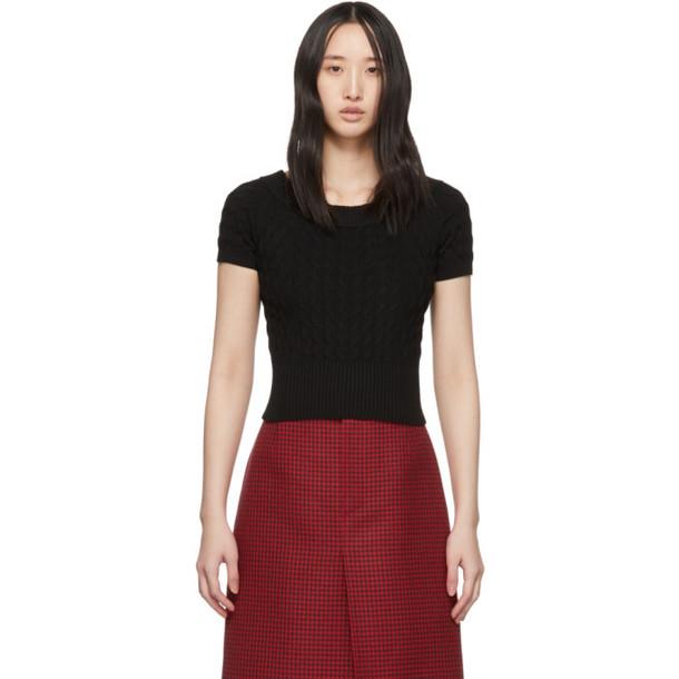 Alexander McQueen Black Off-The-Shoulder Short Sleeve Sweater