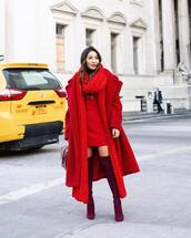 shoes,over the knee boots,red boots,stuart weitzman,heel boots,red coat,long coat,teddy bear coat,oversized coat,mini dress,red dress,knitted scarf,bag