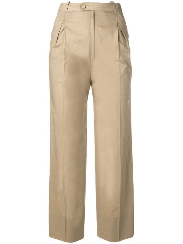 Jean Louis Scherrer Pre-Owned 1970's straight cropped trousers in neutrals