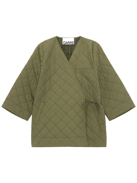 GANNI Stretch Canvas Quilted Wrap Coat in green