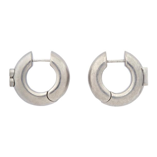 Balenciaga Silver Hoop B Earrings