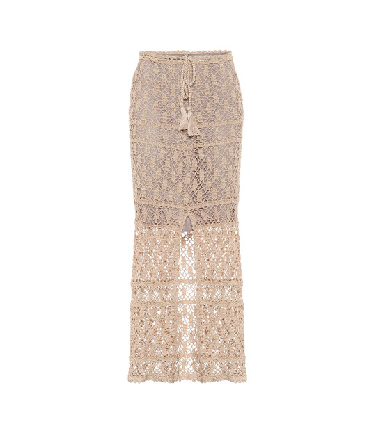 Anna Kosturova Bianca high-rise cotton maxi skirt in gold