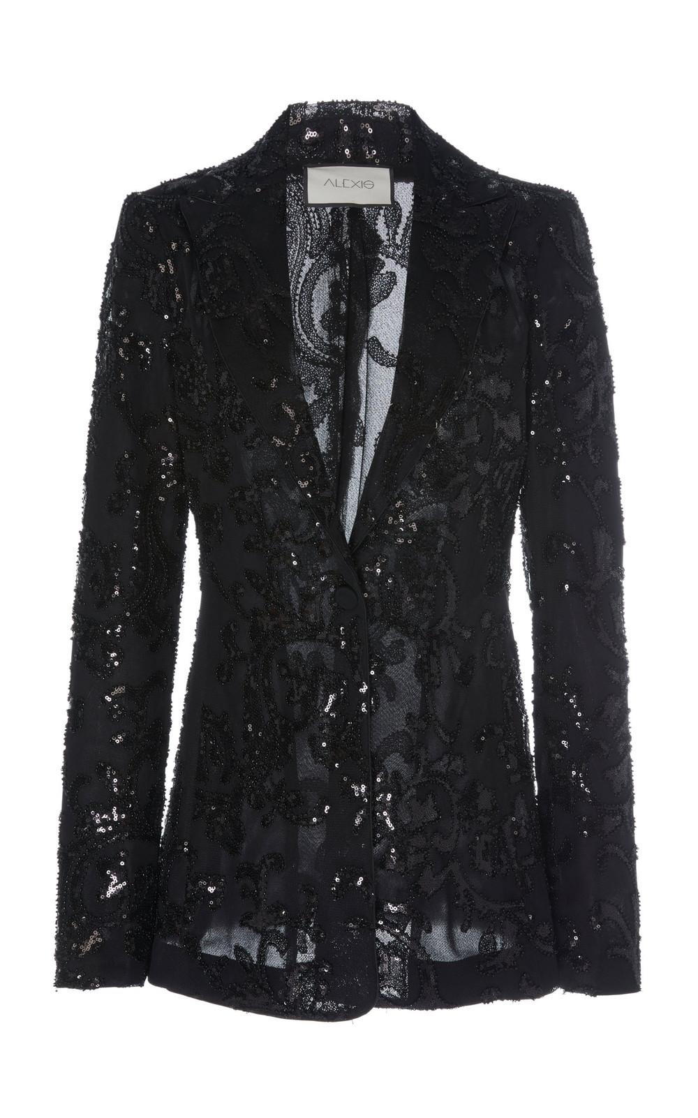 Alexis Firdas Sequin Embroidered Tulle Blazer Size: XS in black