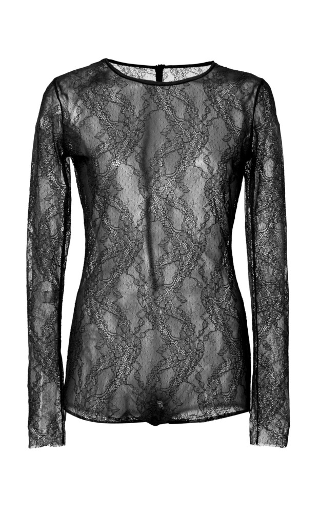 Red Valentino Stretch-Lace Bodysuit Size: XS in black