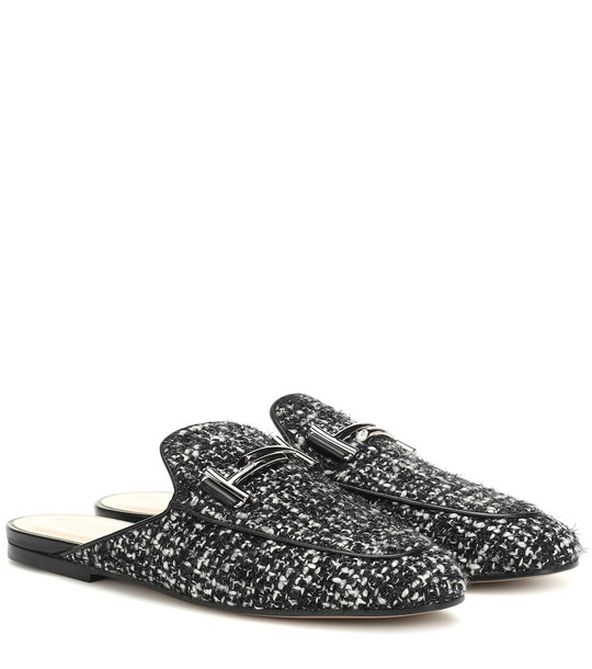 Tod's Double T tweed slippers in black