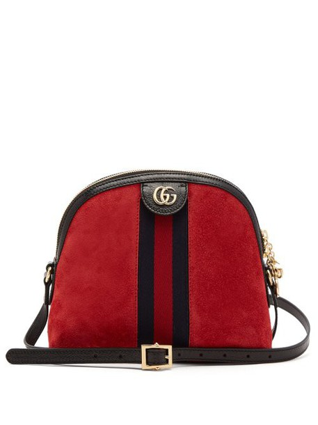 Gucci - Ophidia Suede Cross Body Bag - Womens - Red Multi