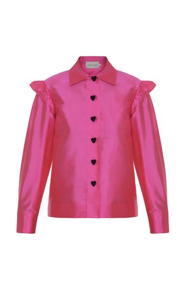 George Keburia Ruffled Shoulders Silk Shirt in pink
