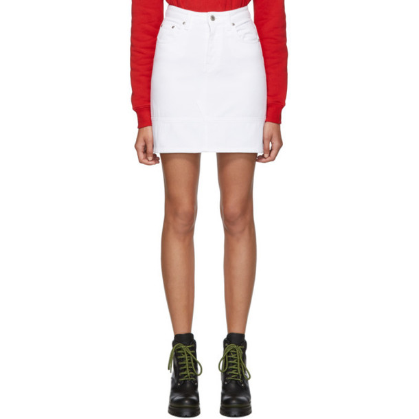 MSGM White Denim Miniskirt