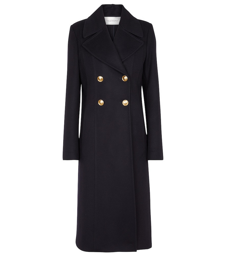 Valentino Double-breasted Compact Drap coat in gold