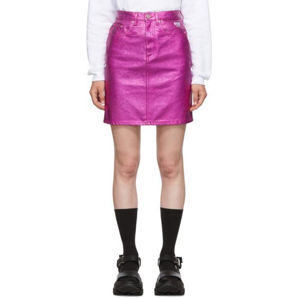 MSGM Pink Denim Metallic Miniskirt