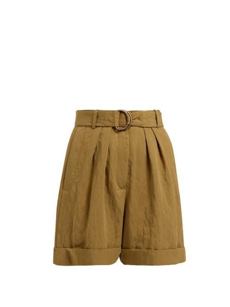 Masscob - Carbet Pleated Twill Shorts - Womens - Dark Green