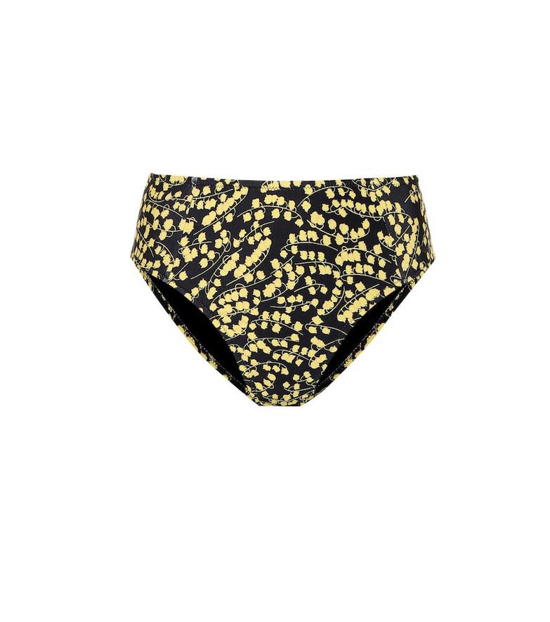 Ganni Printed bikini bottoms in black