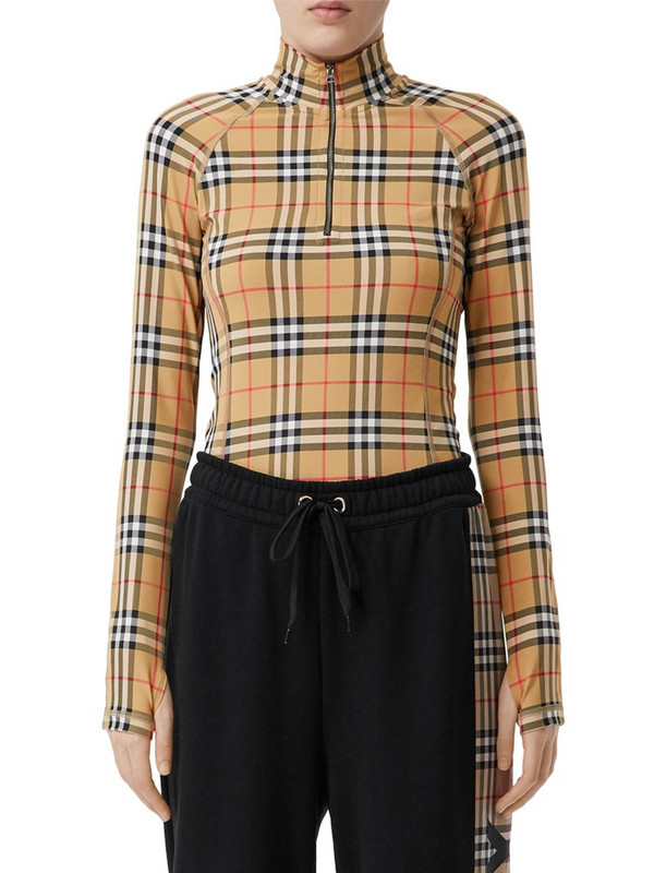 BURBERRY Iconic Check Lycra Cycling Top in beige