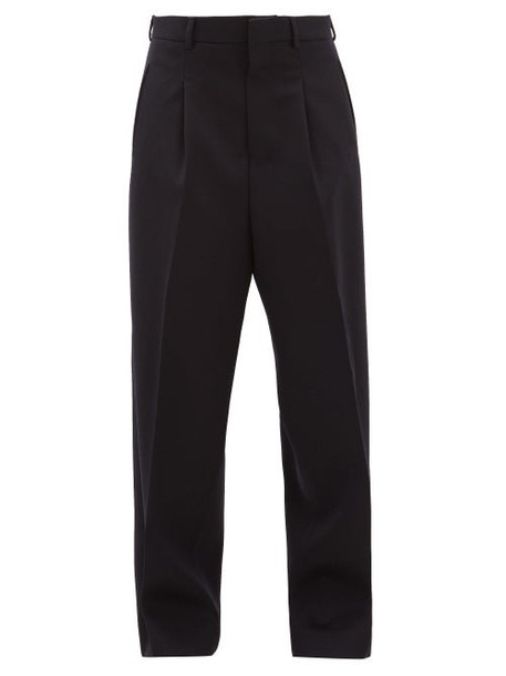 Ami - Wide Leg Pleated Wool Twill Trousers - Womens - Navy
