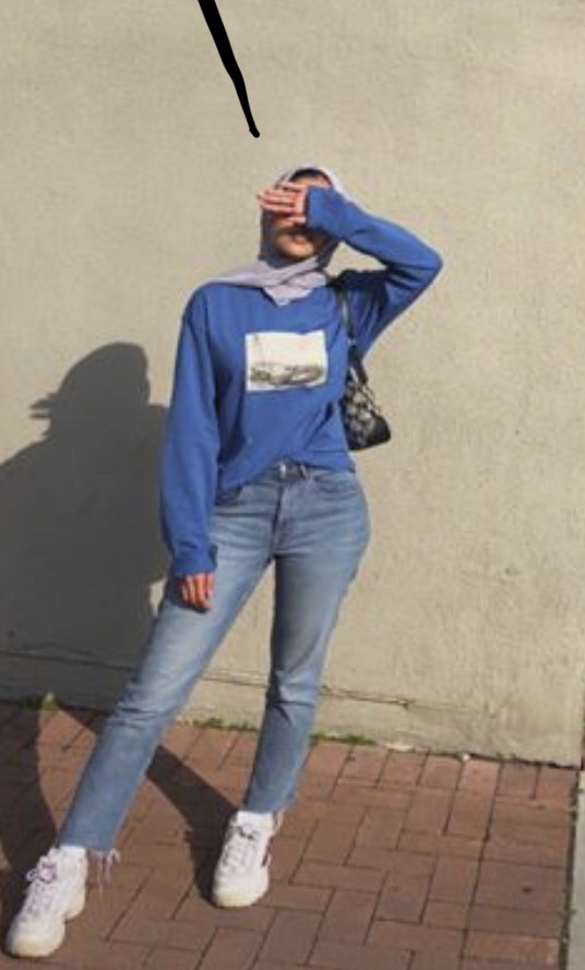blouse blue graphic tee