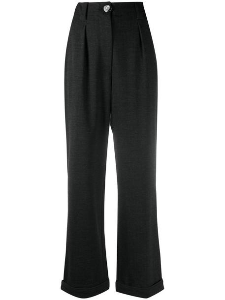 Giorgio Armani high-waist straight trousers in grey