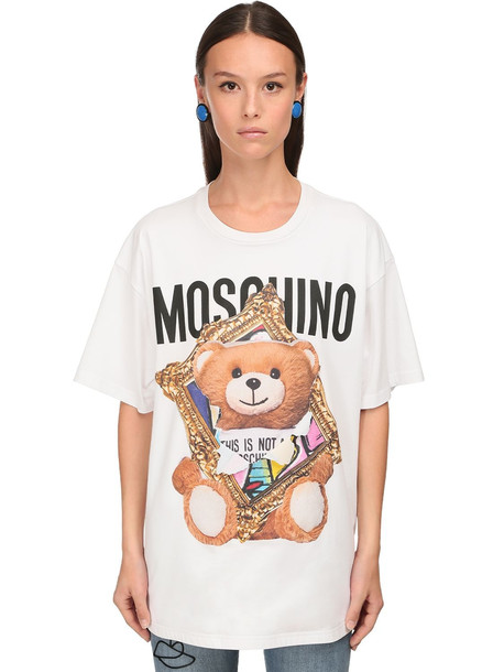 MOSCHINO Oversize 3d Print Cotton Jersey T-shirt in white