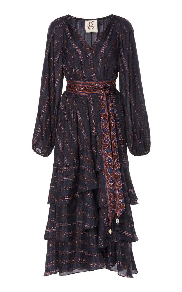Figue Kira Ruffled Printed Silk-Georgette Midi Dress Size: XS in multi