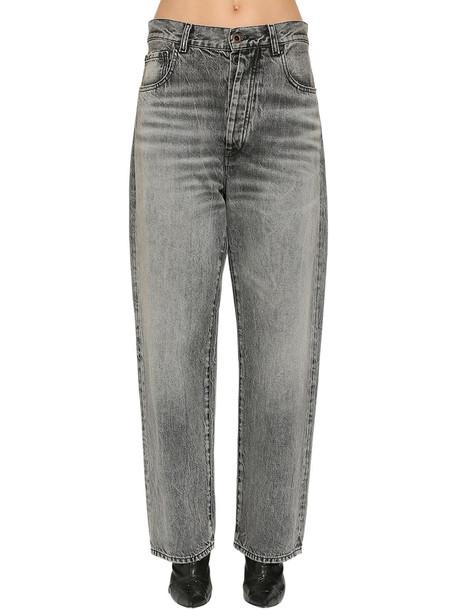 UNRAVEL Baggy Cotton Denim Jeans in black