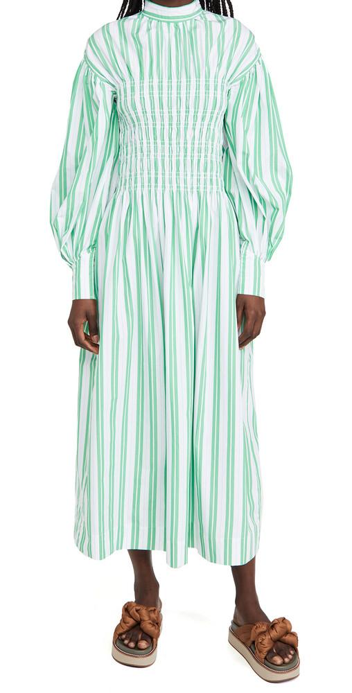 GANNI Stripe Cotton Dress in green