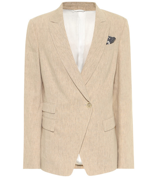 Brunello Cucinelli Stretch-linen blazer in beige