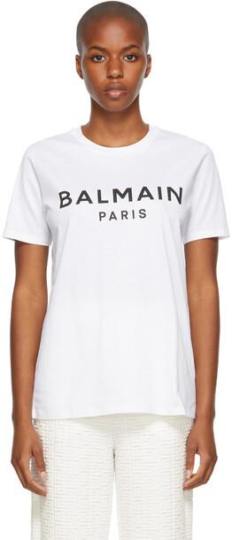 Balmain White Printed Logo T-Shirt