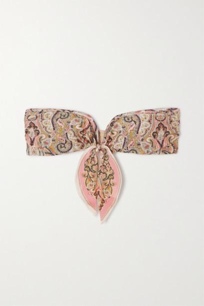 Zimmermann - Freja Tie-detailed Paisley-print Bandeau Bikini Top - Baby pink