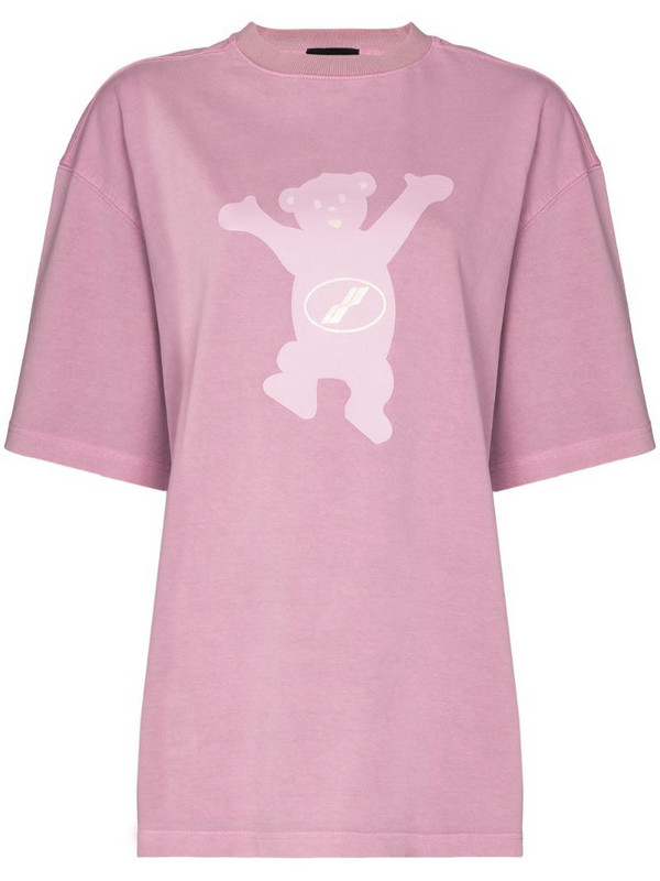 We11done Teddy print T-shirt in pink