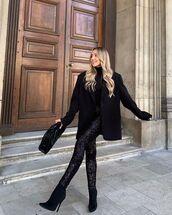 pants,black pants,sequins,black boots,black blazer,turtleneck,black bag