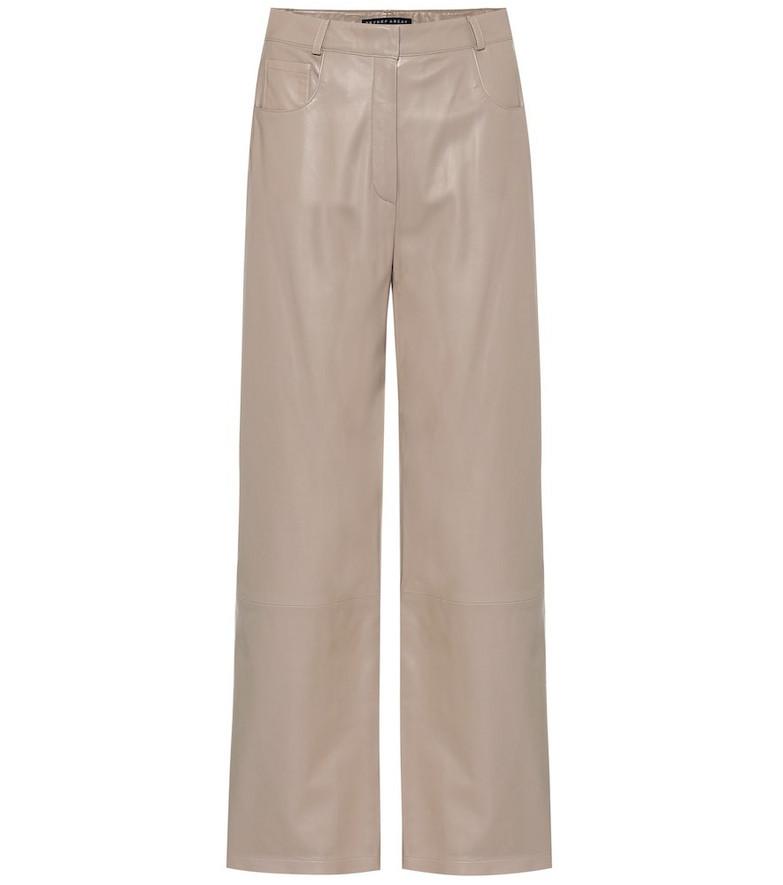 Zeynep Arçay High-rise wide-leg leather pants in beige