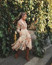 dress,midi dress,floral dress,long sleeve dress,v neck dress,belted dress,knee high boots,brown boots,suede boots,headband
