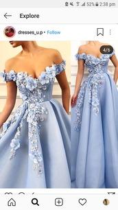 dress,prom,blue,prom dress,flowers,long