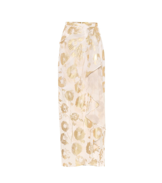 Halpern Floral cotton-voile wrap skirt in white