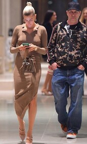 dress,brown,hailey baldwin,model off-duty,slit dress,celebrity,brown dress,midi dress