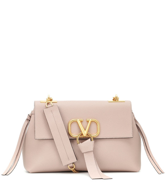 Valentino Garavani VRING leather shoulder bag in neutrals
