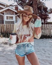 sweater,striped sweater,oversized,denim shorts,hat