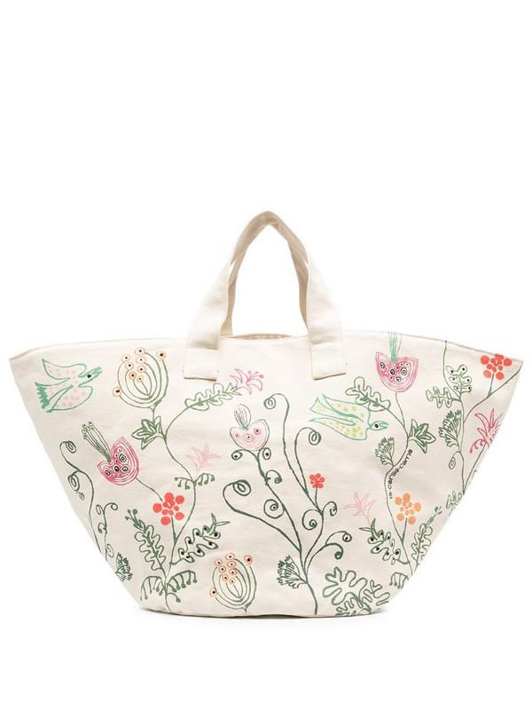 10 CORSO COMO floral-print tote bag in neutrals