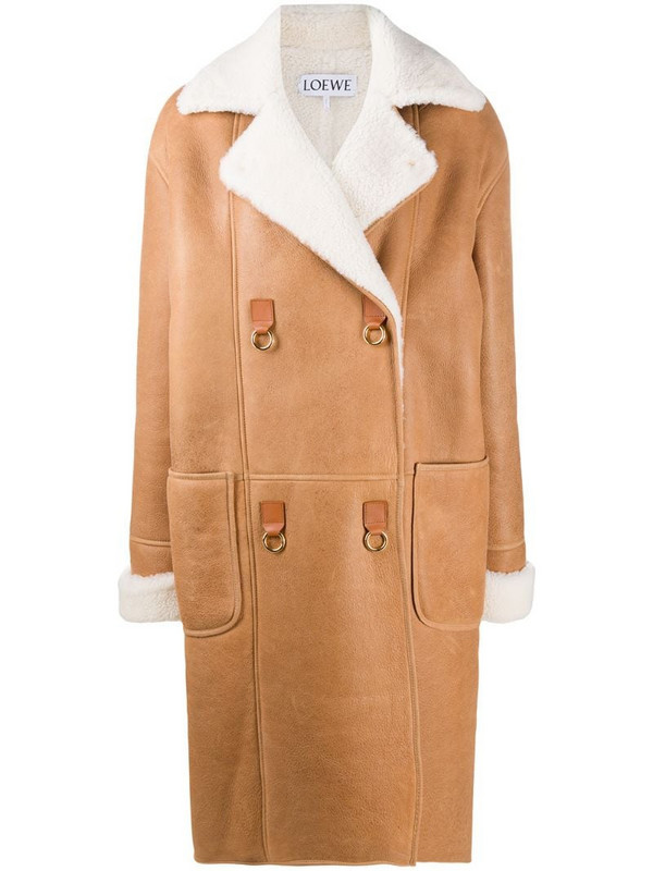LOEWE oversized textured double-breasted coat in brown
