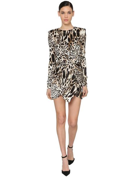 ALEXANDRE VAUTHIER Printed Stretch Satin Mini Dress in leopard