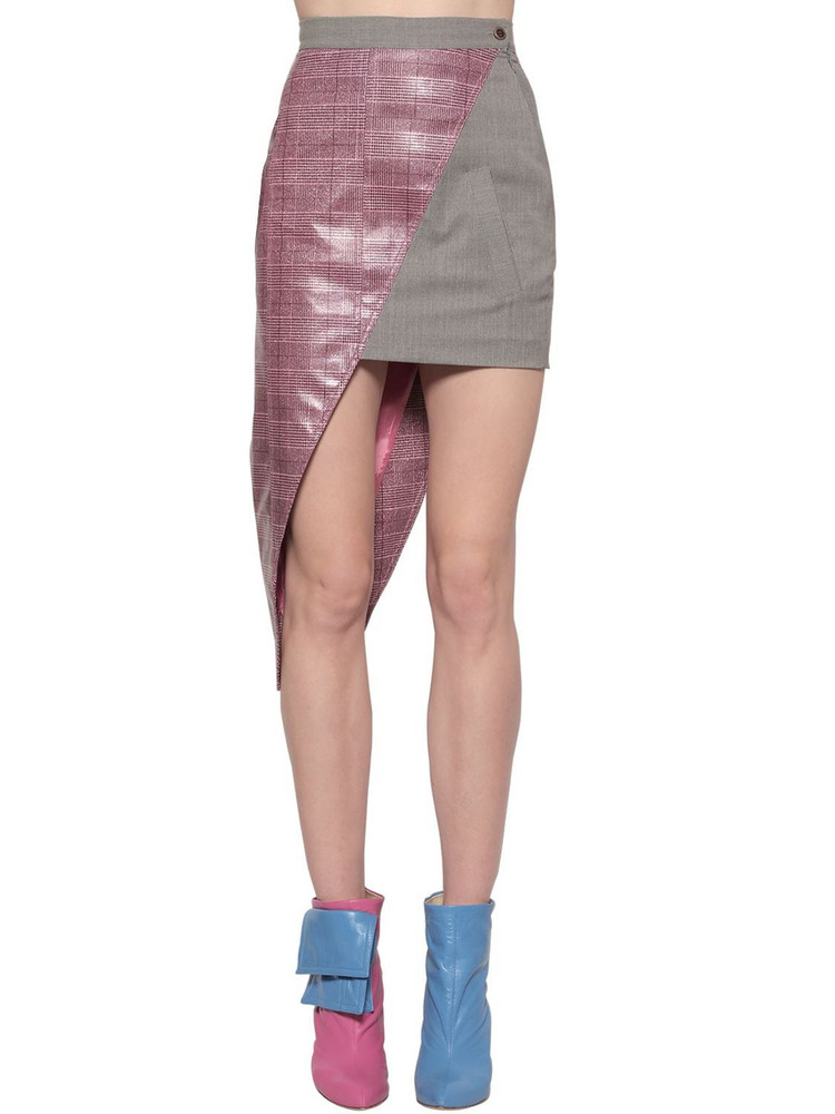NATASHA ZINKO Asymmetric Coated Wool Blend Mini Skirt in grey / pink