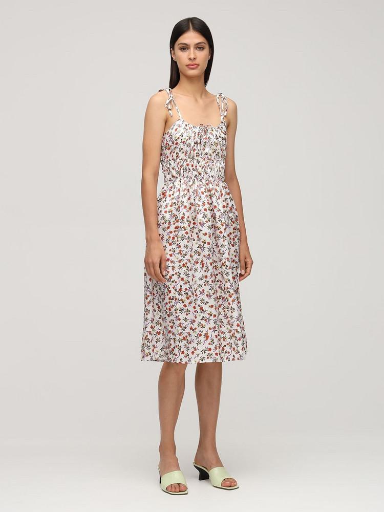 CIAO LUCIA Evalina Print Silk Midi Dress in white / multi