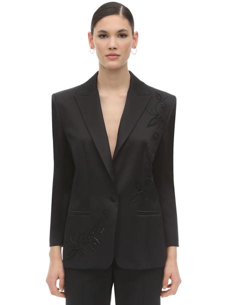 MAGDA BUTRYM Farah Embellished Silk Blazer in black