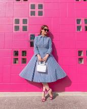 dress,midi dress,shirt dress,striped dress,sandals,transparent  bag,sunglasses